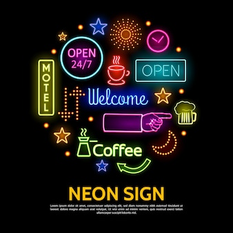 Modello di insegne al neon lucide Vettore Premium