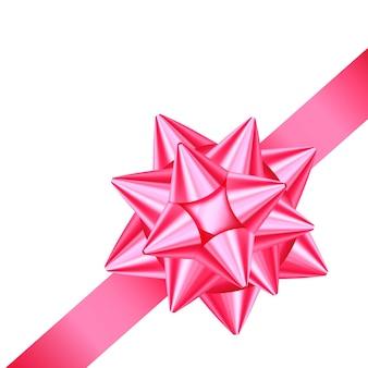 Nastro regalo in raso rosa lucido e fiocco per decorare l'angolo della pagina