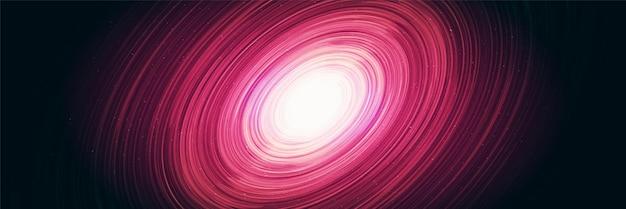 Buco nero a spirale rosa brillante su sfondo galaxy con spirale della via lattea, universo e concept design stellato, vettore