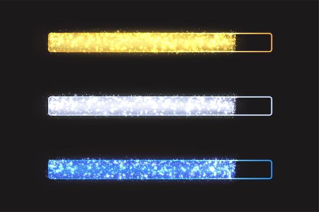 Barra di avanzamento lucida con scintillii. barra di caricamento festiva luminosa con particelle d'oro, bianche, blu su sfondo nero.