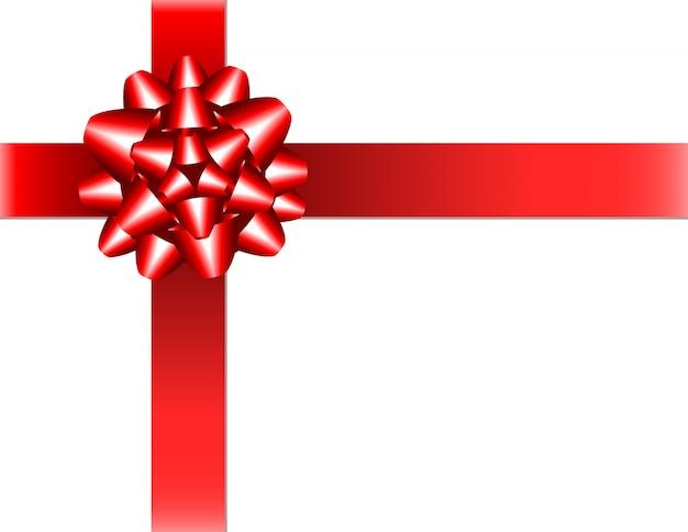 Nastro rosso lucido con fiocco su sfondo bianco