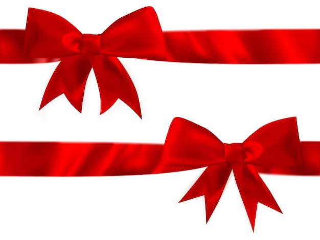 Set fiocco in raso rosso lucido. Vettore Premium