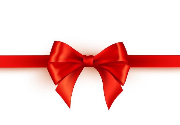 Nastro di raso rosso lucido su sfondo bianco