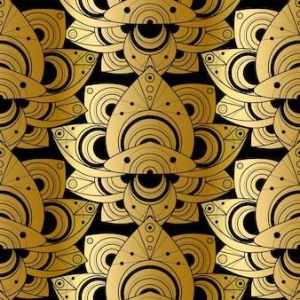 Modello senza cuciture lucido con ornamento naturale dorato