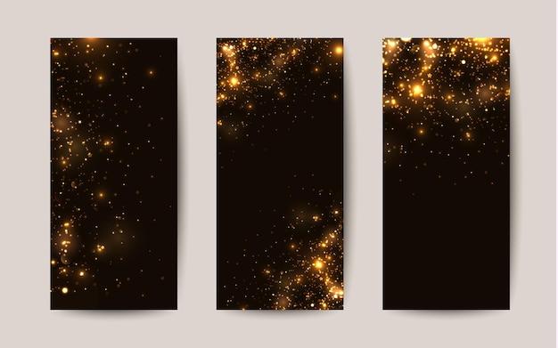 Scintillii lucidi su sfondo nero modelli vettoriali per volantini