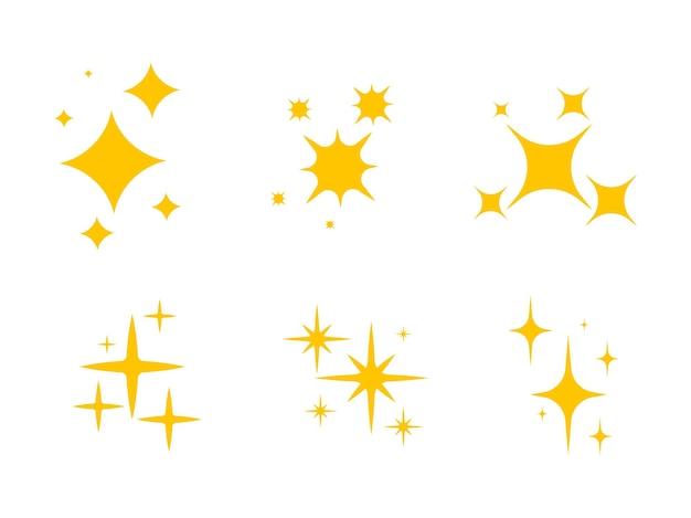 Scintille lucenti. simboli di scintille di colore vettore set di stelle di luci scintillanti