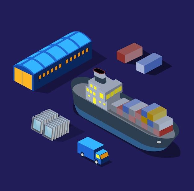 Le fabbriche della barca della nave, illustrazione di notte di industria dei magazzini