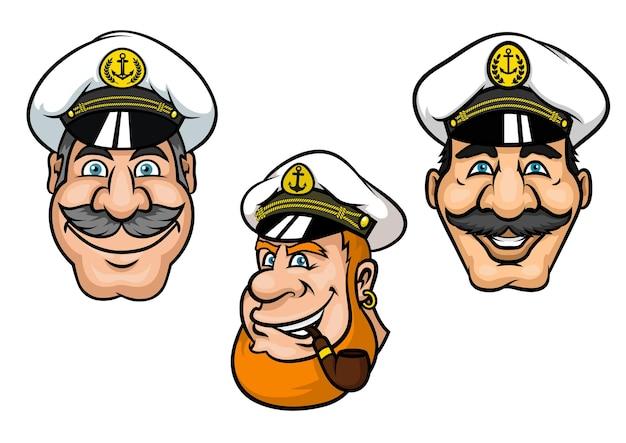 Capitani delle navi in stile cartone animato con uomini sorridenti allegri