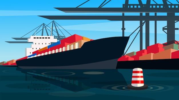 Vettore della nave sull'illustrazione del porto del bacino del trasporto del contenitore