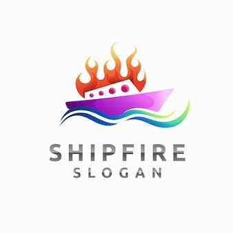 Logo del fuoco della nave con il concetto di colore sfumato