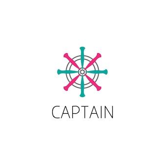 Concetto di design grafico del logo del timone della nave. elemento modificabile del timone della nave, può essere utilizzato come logotipo, icona, modello nel web e stampa