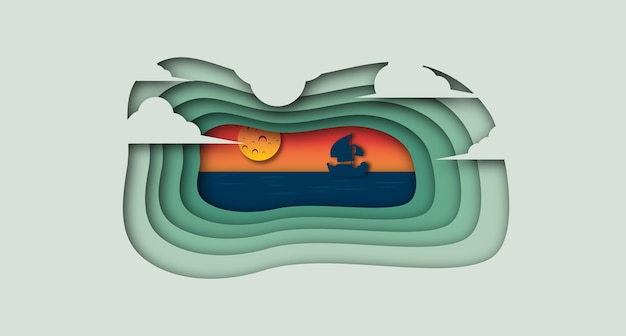 Nave nella priorità bassa di stile del taglio della carta dell'oceano