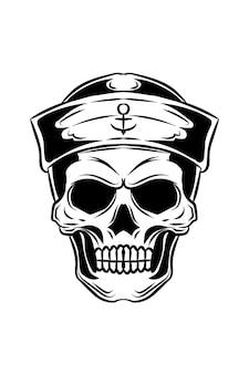 Illustrazione vettoriale del cranio dell'equipaggio della nave