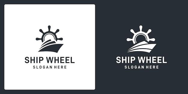 Ispirazione al volante della nave e forma astratta della barca. vettore premium