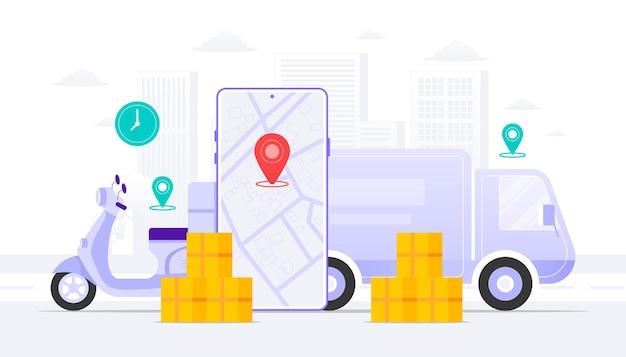 Illustrazione del concetto di spedizione. scouter per auto con app mobile