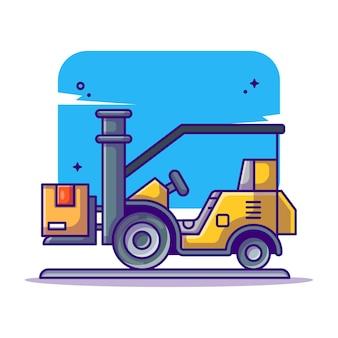 Illustrazione del fumetto del carrello elevatore del carico di consegna logistica di spedizione