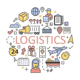 Icone di spedizione e logistica impostare il servizio di consegna.