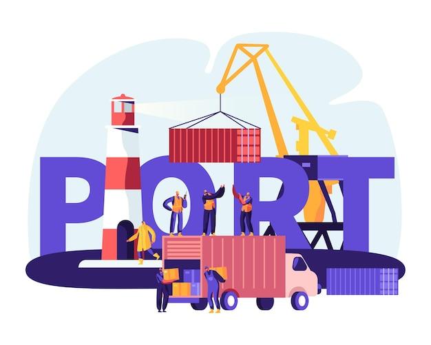 Concetto di porto di spedizione. contenitori di carico della gru portuale, lavoratori del porto marittimo trasportano scatole da camion in banchine vicino al faro, poster logistico del mare, flyer, brochure illustrazione di vettore piatto del fumetto
