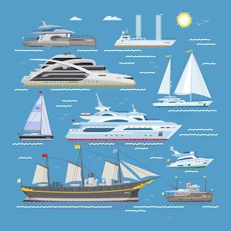 Barche di navi o crociere che viaggiano in mare o mare e spedizione illustrazione di trasporto set marino di yacht a vela nautica o motoscafo sullo sfondo