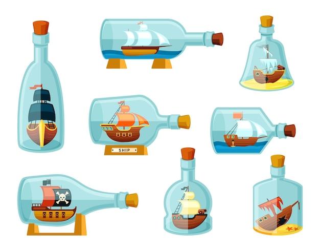 Navi in bottiglie impostate