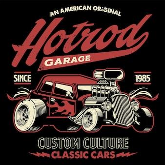 Design della maglietta dell'auto americana hotrod in stile vintage