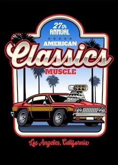 Design della maglietta della muscle car americana