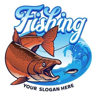 Disegno della camicia che pesca il salmone chinook