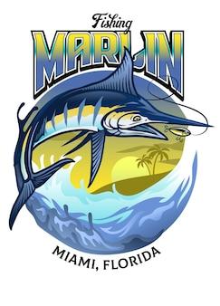 Disegno della camicia di pescare il pesce marlin