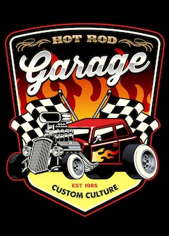Design della maglietta del garage per auto hot rod