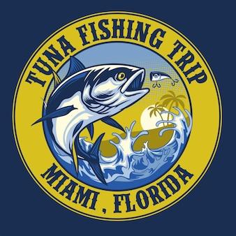 Design della camicia della pesca del tonno
