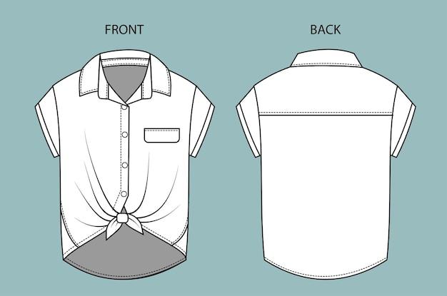 Schizzo di moda camicia sulla vista anteriore e posteriore