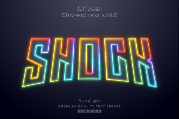 Shock colorato neon sfocatura modificabile stile carattere effetto testo