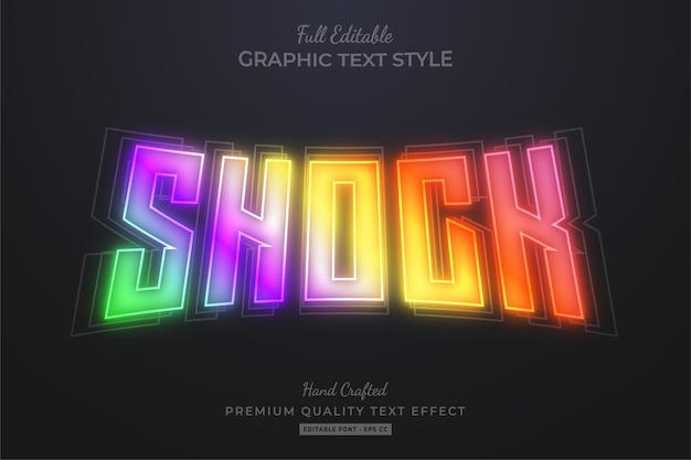 Stile carattere effetto testo modificabile olografico sfumato shock