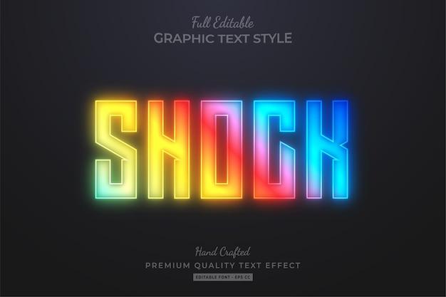 Effetto di stile di testo modificabile al neon sfumato shock premium