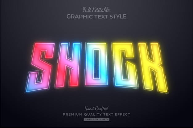 Shock gradient neon hologram editable text effect font style