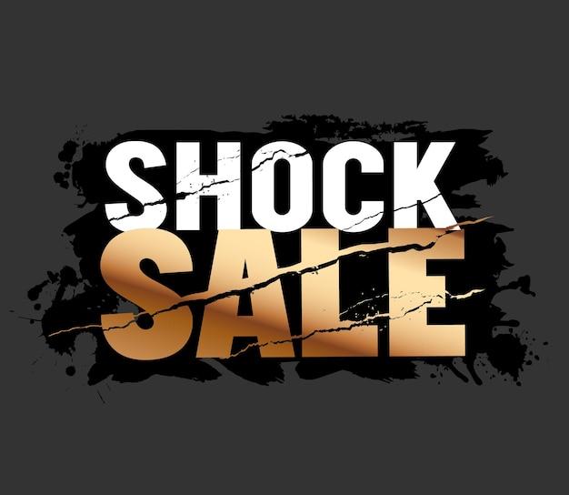 Testo di vendita shock design banner bianco e oro su superficie ruvida grange sfondo nero eps 10