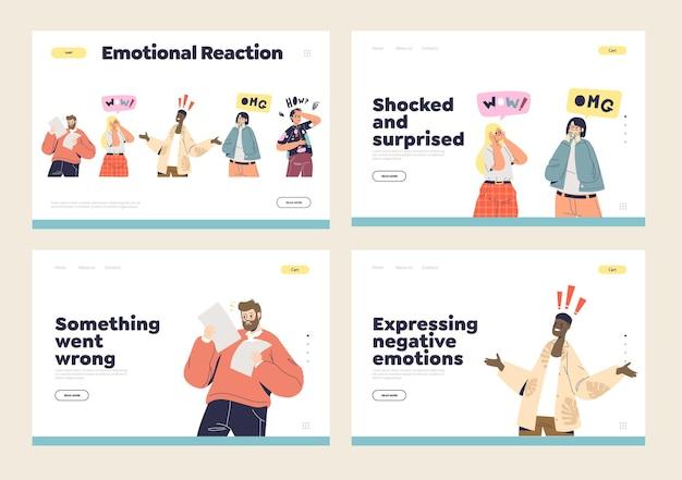 Emozioni e reazioni shock e sorpresa ambientate in cartoni animati scioccati e sbalorditi