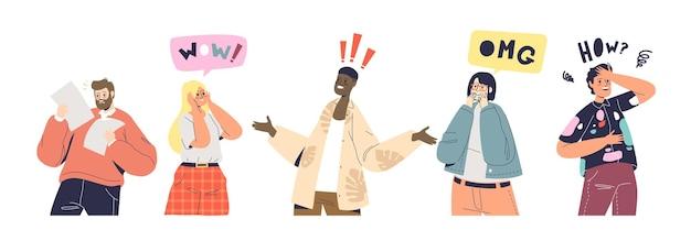 Set di reazioni di shock e sorpresa. personaggi dei cartoni animati eccitati e frustrati con emozioni sorprese e scioccate su buone o cattive notizie. persone che gesticolano emotivamente. illustrazione vettoriale