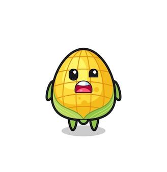 Il volto scioccato della simpatica mascotte di mais, design in stile carino per maglietta, adesivo, elemento logo