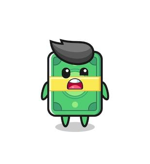 Il volto scioccato della simpatica mascotte dei soldi, design in stile carino per maglietta, adesivo, elemento logo