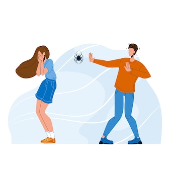 Persone scioccate con fobia ragno paura