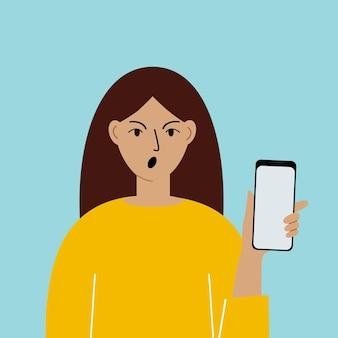 Donna scioccata con telefono cellulare, vista frontale. scattare foto, leggere, chattare. dipendenza da smartphone e internet. illustrazione vettoriale.