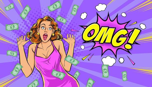 Donna scioccante alza la mano omg sorpresa con falling down money in stile fumetto pop art