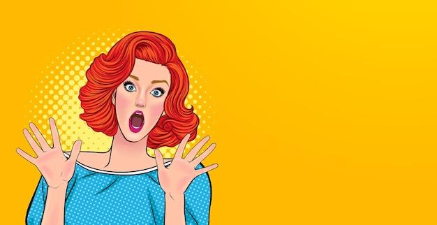 La donna scioccante ha sorpreso qualcosa in stile fumetto retrò vintage pop art