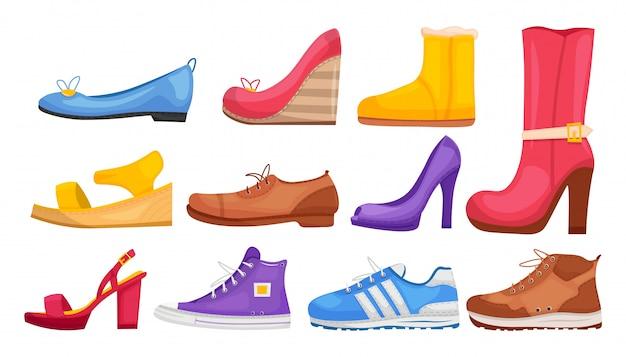 Collezione di scarpe. vari set di stile moda calzature casual e formale alla moda. donna ed uomo eleganti stivali eleganti, scarpe da ginnastica, collezione di scarpe