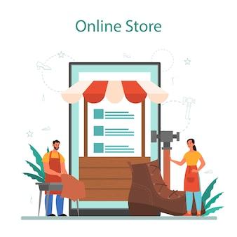 Servizio o piattaforma online di calzolaio.