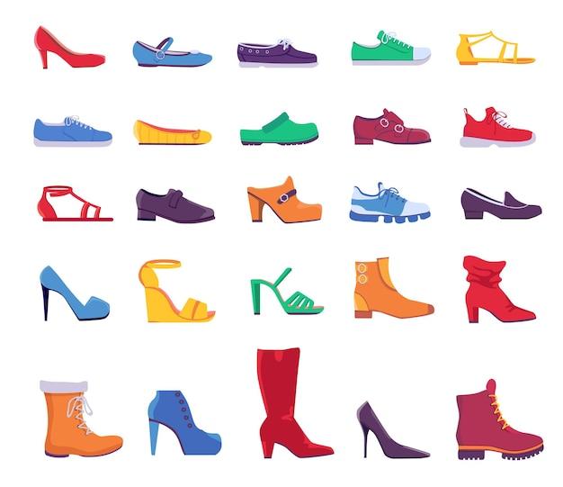 Scarpe e stivali. calzature moda estive e autunnali per uomo o donna. scarpa in pelle casual e formale, scarpe da ginnastica e décolleté, set vettoriale piatto. illustrazione delle scarpe da ginnastica dei cartoni animati e delle scarpe da ginnastica da donna