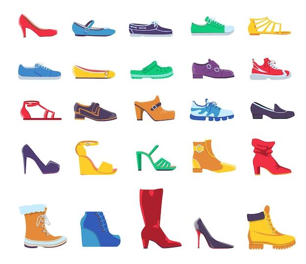 Scarpe e stivali. calzature moda estive e autunnali per uomo o donna. scarpa in pelle casual e formale, scarpe da ginnastica e décolleté, set vettoriale piatto. icona di scarpe casual illustrazione, set alla moda