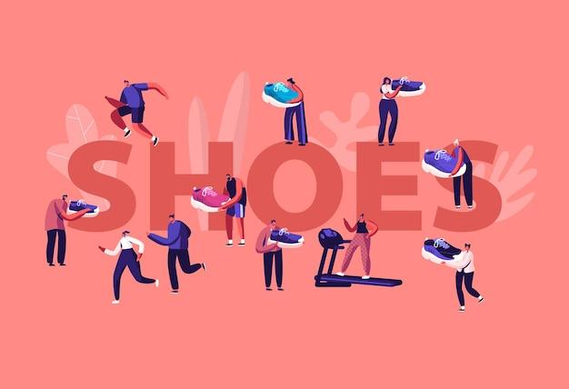Concetto di scarpe. sportivi e sportive si allenano in palestra e camminano all'aperto in scarpe da ginnastica sportive. cartoon illustrazione piatta