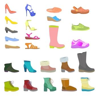 Set di icone di scarpe, stile piatto